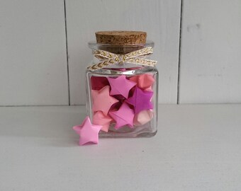 Square Jar of Pink Origami Stars