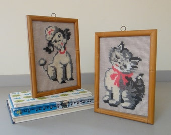 SALE - Vintage Framed Poodle and Kitten Needlepoint Pair
