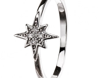 Tiny Star Ring, Sterling Silver Ring, Star Jewelry, Star Ring, North Star ring, Zirconia Ring, Thin Stacking Ring, Star Rings, North Star.