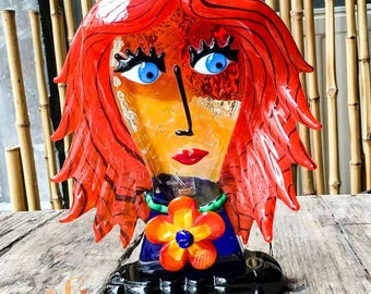 Glass Sculpture - Picasso Female Face Sculpture - Handmade Red Glass Abstract Sculpture Made in Venice, Italy - Certified Murano Glass