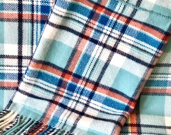 Plaid Wool Blanket & Tote Washable Throw Size Fringed Blue Shades Rust White