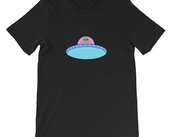 Trippy Alien in a UFO Graphic T-shirt - Galaxy