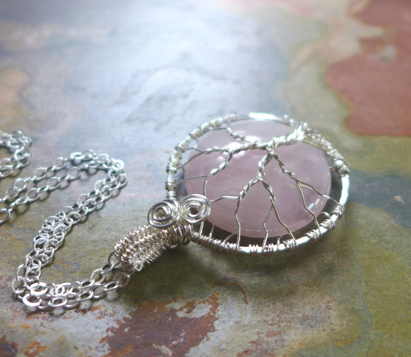 Wire Wrapped Tree of Life Rose Quartz Pendant Necklace in sterling ...