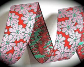"WOVEN Ribbon - Red, Pink and Turquoise  -  1"" x 3 yards"