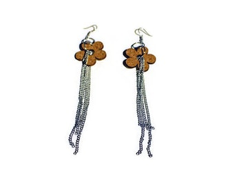 Cork with steel chains earrings