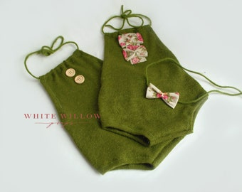 Olive green twin set, newborn photography prop, sitter olive green twin rompers, UK seller, newborn boy and girl, sitter boy and girl props