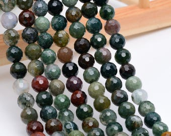 """10MM Faceted Indian Agate Natural Gemstone Full Strand Round Loose Beads 15"""" (100760-323)"""