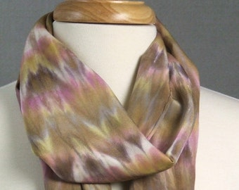 Long Silk Crepe Scarf Hand Dyed Shibori Pink Rose Gold Brown Purple