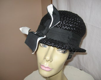 Vintage 40's Era Black Straw Hat with Ribbon Accent