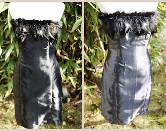 Vintage Inspired 80s Style Feather and Silk strapless little black dress- size 12 by FrannB Designs