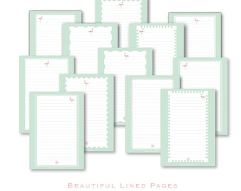 LINED PAPER printable INSERTs lined A5 + A4, lined pages pdf, life binder pdf, printable planner pdf, lined insert pages, life binder aqua