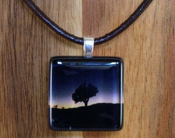 Glass Tile Pendant Necklace, photoart , Joshua Tree in a Blue Sunset