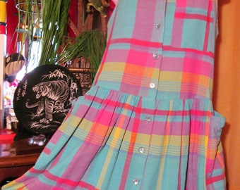 80s/Colorful/MADRAS/JUMPER/DRESS/ Vintage/Cotton/Gauze/Women/Romper/ Retro/Pastel/Plaid/Pink/Yellow/Teal/ Casual/Summer/Clothing/Outerwear/M