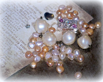 Mini flat pearl beads, lot of beads, lot of pearls, small rhinestone bead, supplies