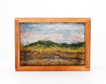 Wool Landscape Painting - Needle Felted Fiber Art Landscape - Where the Field Meets the Mountain (4x6 Teak Frame)