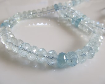 """7mm Aquamarine Shaded Faceted Rondelles, 2"""" Strand, Just Gorgeous"""