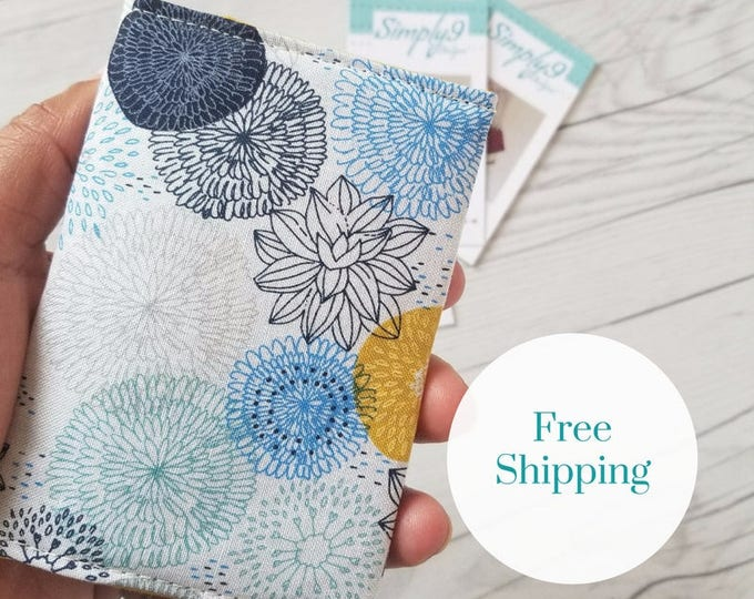 Featured listing image: Floral Wallet, Teal Yellow Blue Wallet, Small Wallet, Small Women Wallet, Business Card Wallet, Credit Card Wallet, Credit Card Case