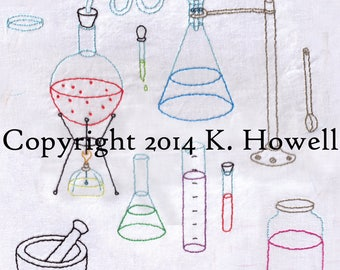 Science Hand Embroidery Pattern, Science Lab Equipment, Scientist, Laboratory, Lab, Beaker, Equipment, Chemistry, PDF