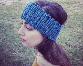 Crochet Ear Warmer, Winter Ear Warmer, Crochet Headband, Womens Ear Warmer, Teen Girl Headband, Crochet Winter Headband, Blue Ear Warmer