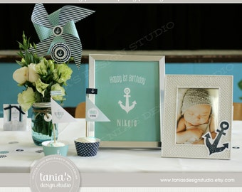 Nautical Sailor Printable Birthday Party Package by tania's design studio