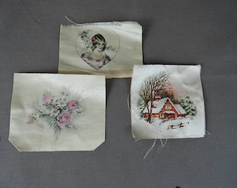 Vintage Silk Screen Print Squares, 1930s Lady, Flowers and House, Sewing Quilting