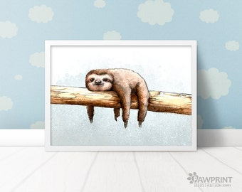 Cute Sloth Poster - Sloth Print - Sloth Gift - sloth painting - Sloth Art - Cute Animal Illustration best friend gift - sloth nursery print