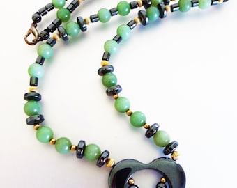 Vintage Green Gemstone Necklace | Hematite Adventurine Gemstone Beaded Heart Necklace | Vintage Hematite Heart Necklace | Valentines Day