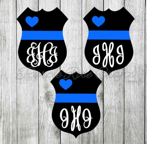Police Love Thin Blue Line Monogram Initials Decal Sticker