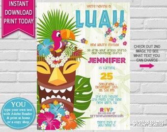 Hawaiian Luau Birthday Invitation | Luau Party, Hawaiian Party, Hawaiian Birthday,Tropical Invitation,Hawaiian Luau,Luau Birthday Invitation