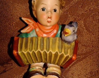 "Lets Sing  Hummel Figurine  #110/0 Let's Sing  Boy playing accordion  3"" Tall W. Germany Signed"