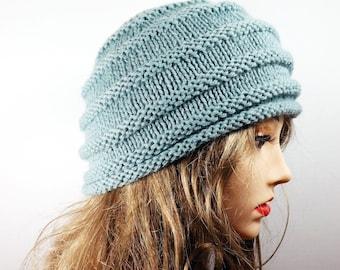 Seaspray Horizontal Ribbed Beanie Hat Knit Pale Blue Beehive
