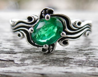 Lush Green Emerald Engagement Ring in 14K White Gold in Ocean Wave Sea Surf Themed Setting Size 7