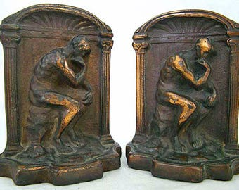 The Thinker Bronzed 1930s Bookends | Art Deco Bookends | Auguste Rodin Sculpture | Bronze Bookends | Vintage Desk Accessory