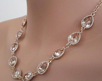 Topaz & Rhinestone Necklace
