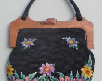 Vintage 20s 30s Needlepoint Purse Bag Handbag Handmade Tapestry Floral Design Black Wool Wooden Frame 1920s 1930s Art Deco Era Fashions