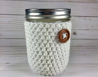 Cotton Mason Jar Cozy, pint mason jar cozy, crochet mason jar cozy, crochet jar cozy