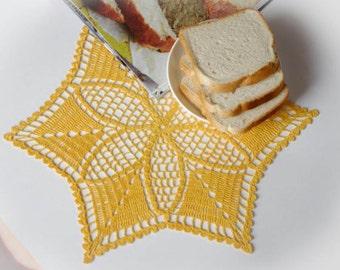 SALE 35% OFF: Crochet doily Yellow star doily Handmade linen crochet star Lace doily Crochet doilies 174