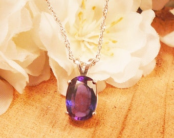 Certified Sapphire Necklace, June Birthstone Purple to Blue Color Change , Sterling Silver, 4.10 Ct Facet 10.48 x 7.08 mm Natural Sapphire