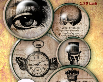 Vintage Steampunk Halloween Goth Digital Collage Sheet 20 mm, 1 inch and 1.25 inch Round Circle Bottlecap Bottle Caps Images for Jewelry