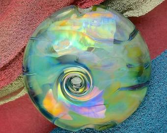 "Handmade Lampwork Focal Bead ""Misty Twist"" SRA Glass Bead Lentil ~ OOAK Textural Organic Silver Glass Lustre ~ Meadow Shades"