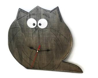 Funny fat cat, Wall clock, wooden clock, funny gift, Unique Wall Clock, wall decor gift, funny clock, cat clock, wood clock, cat gift