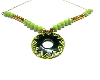 ON SALE Mother of Pearl Green Medallion Pendant Beaded Necklace Top Selling Jewelry Women's Gifts Gold Necklace