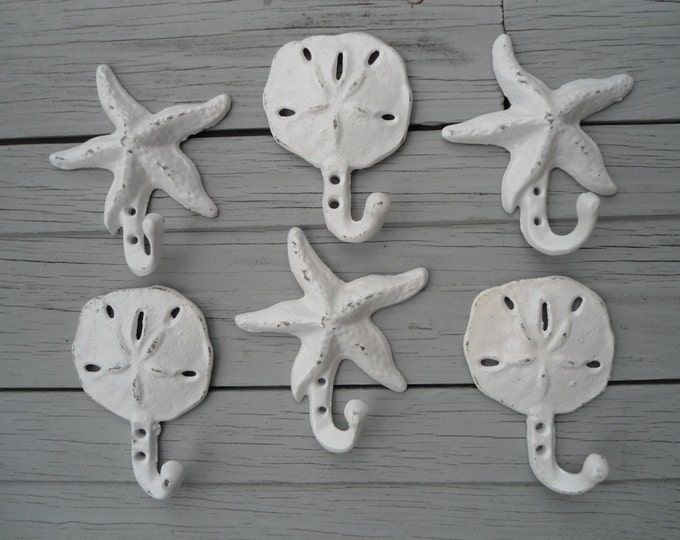 sand dollar hooks starfish Beach home decor Nautical Beach House Dreams beach towel outdoor shower pool hot tub mudroom bathroom towel rack