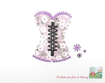 Applied fusing Bustier corset fabric liberty Mitsi flex purple glittery patch iron on applique lingerie pattern liberty woman