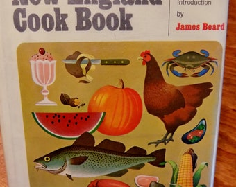 Vintage Cookbook - June Platt's New England Cook Book - First Edition - 1971 - Hardcover w/DJ - Intro by James Beard - Seafood/Soups/Poultry