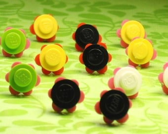 Mini Brick/Plate/Disc Flowers Stud Earrings- Your Choice of Color