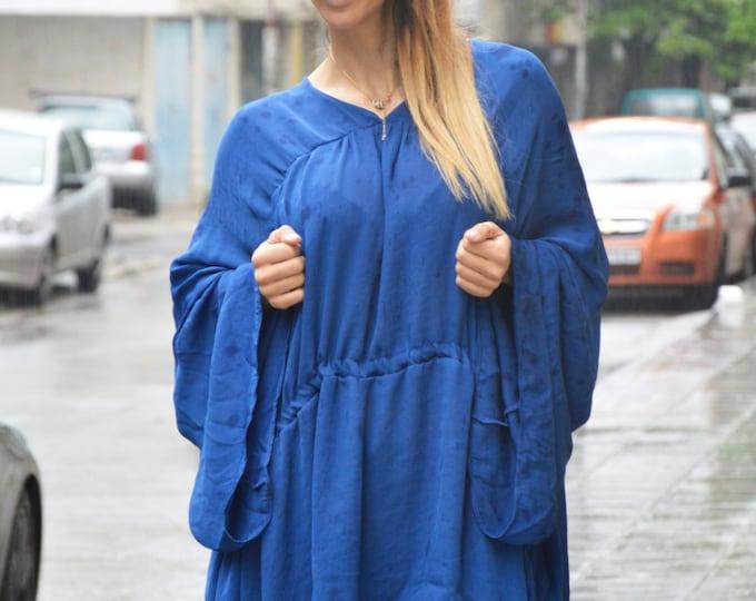 Maxi Chiffon Shirt, Loose Tunic, Blue Extravagant Top, Oversize Long Shirts, One Size Dress, Dinner Dress by SSDfashion