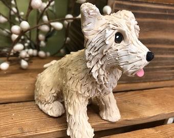 Cairn Terrier Ornament, Custom Dog Ornament, Clay9 Mini, Custom Dog Sculpture, Dog Ornament, Cairn Terrier Sculpture, Gift, Cairn Terrier