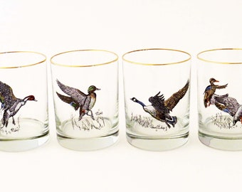 """Gamebird- WaterFowl BARWARE DRINK GLASSES by R. Bishop (Set of 4) / 4"""" Tall Retro 70's-90's Barware / Man Cave - Hunter Gift - Father's Day"""