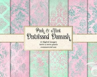 Pink and Mint Damask digital paper, rustic vintage texture scrapbook paper, distressed grunge, pink glitter baby shower instant download